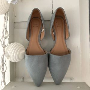A New Day Light Blue Suede-ish D'Orsay Flats